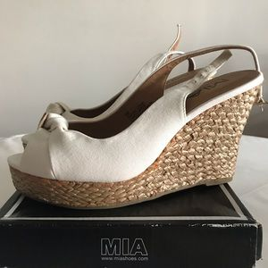 New MIA White Wedge Sandal Heels